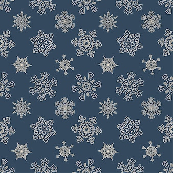 Seamless christmas pattern with drawn snowflakes
