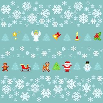Рождественский фон с элементами в стиле пиксель-арт.
