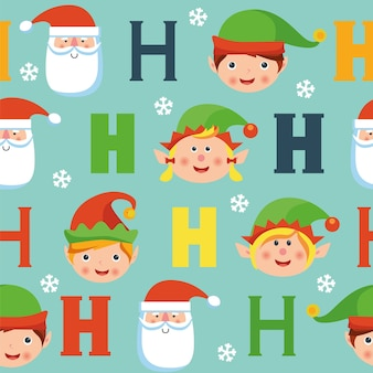 Seamless christmas pattern with elves, santa, hohoho