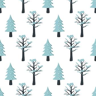 雪の中でモミと木とのシームレスなクリスマスパターン