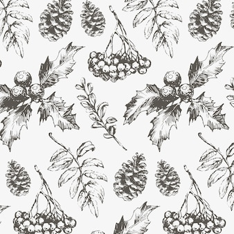 Seamless christmas pattern with fir branches, cones and berries.