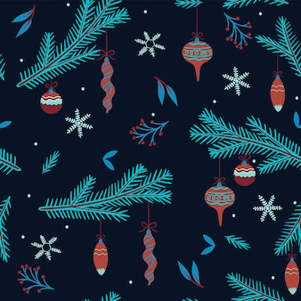 Seamless christmas pattern with fir branches.