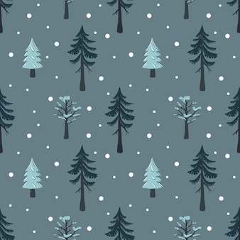 Seamless christmas pattern with fir and tree in the snow happy new year print with snowflakes