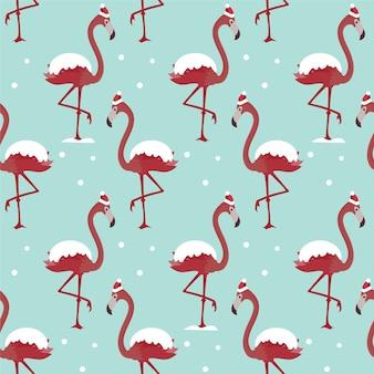 Seamless christmas pattern with flamingos.