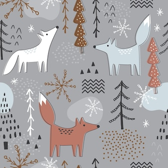 Seamless christmas pattern with forest and fox design