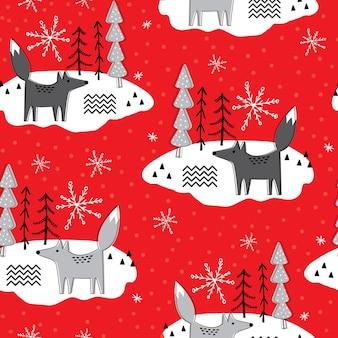Рождественский фон с лисой и деревом на красном фоне