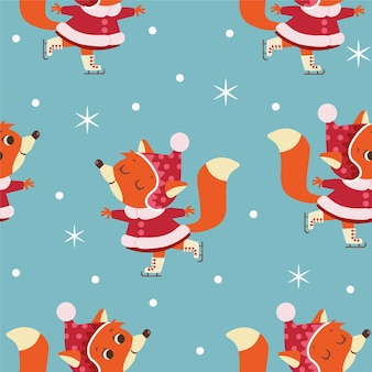 Seamless christmas pattern with foxes skating on ice rink