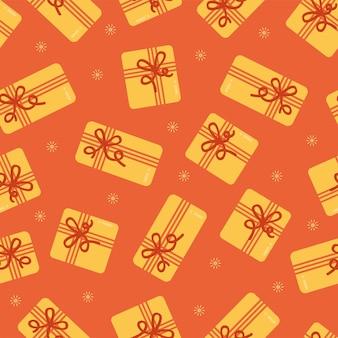 포장지 직물 인쇄를 위한 선물 상자 벡터 배경이 있는 원활한 크리스마스 패턴