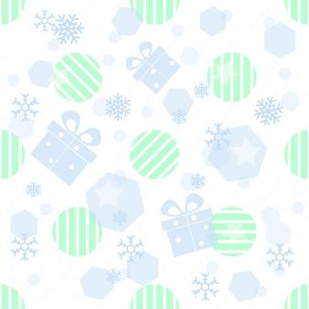 贈り物、snwflakeと白の背景に幾何学的なシームレスなクリスマスのパターン