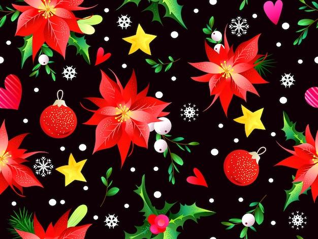 Seamless christmas pattern with greenery, balls and stars