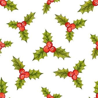 Seamless christmas pattern with holly berries vector illustration