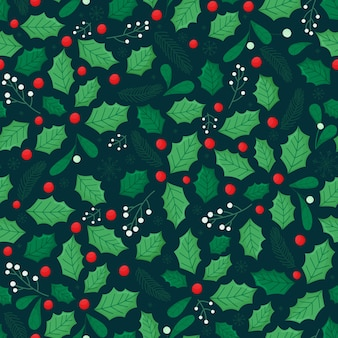 Seamless christmas pattern with holly leaves, fir branches, green leaves and berries