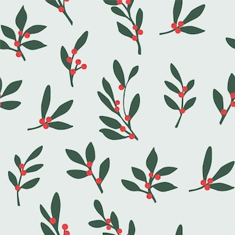 Seamless christmas pattern with leaves and red berries.