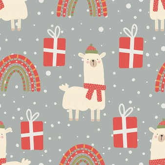 Seamless christmas pattern with llama, rainbow and gifts christmas ornament with red and green color, vector illustration digital paper