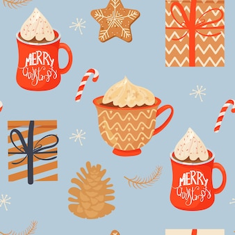 Seamless christmas pattern with mugs of cacao gifts ginger cookie lollipop and pinecone