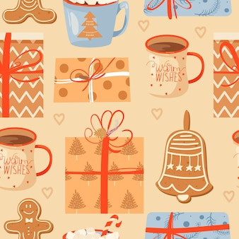 Seamless christmas pattern with mugs of cacao gifts ginger cookie and lollipop