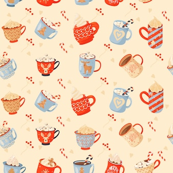 Seamless christmas pattern with mugs of cacao, gifts and lollipop.