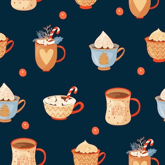 Seamless christmas pattern with mugs of cacao marshmallow lollipop and holly leaves