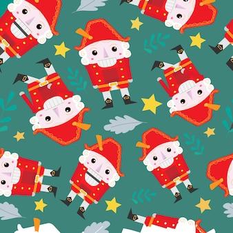 벡터에 호두까기 인형과 크리스마스 트리가 있는 원활한 크리스마스 패턴입니다.