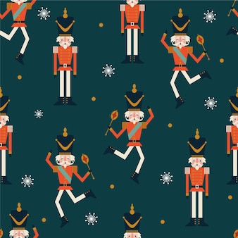 Seamless christmas pattern with nutcrackers, snowflakes on blue background.
