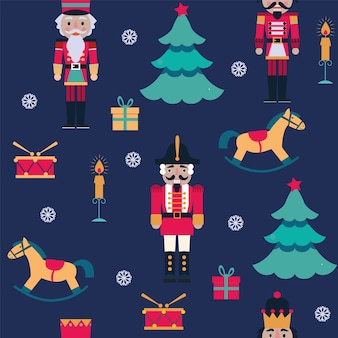 Seamless christmas pattern with nutcrackers, snowflakes, toys, tree on blue background.