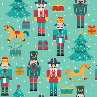 Seamless christmas pattern with nutcrackers, tree, horses, boxes.