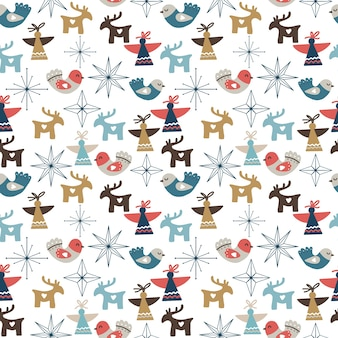 Seamless christmas pattern with ornaments, stars, snowflakes, angels and deers