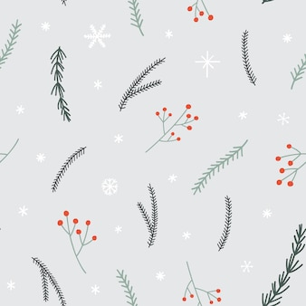 Seamless christmas pattern with pine branches, snowflakes and red berries twig.