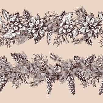 Бесшовный рождественский образец с сосной, ягодой падуба в графическом стиле.
