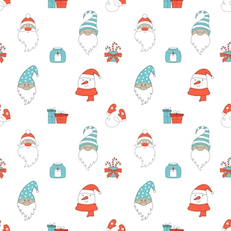 Seamless christmas pattern with santa claus, gnomes, and snowman. v