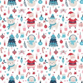 Бесшовный рождественский образец с санта-клаусом, оленями, деревом, украшениями, снежинками, пингвином, снеговиком и коробками векторные иллюстрации