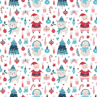 Seamless christmas pattern with santa clause, deer, tree, decoration, snowflakes, penguin, snowman and boxes vector illustration