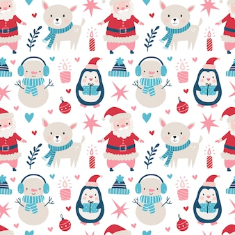 Seamless christmas pattern with santa clause, deer, tree, decoration, snowflakes, penguin, snowman