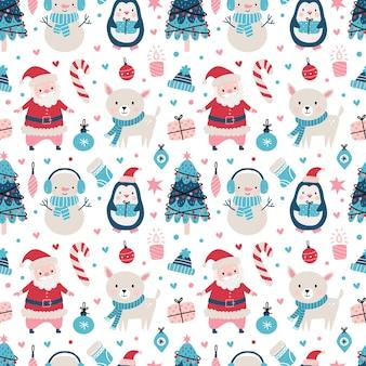 Бесшовный рождественский узор с санта-клаусом, олень, дерево, украшения, снежинки, пингвин, снеговик Premium векторы