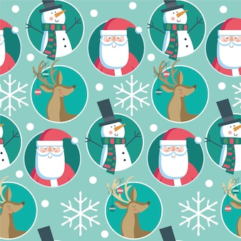 Seamless christmas pattern with santa, derr, snowman and snowflakes on blue background.
