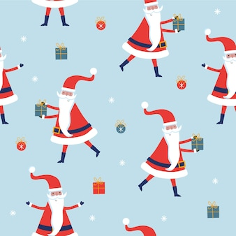 Seamless christmas pattern with santa and gifts on blue pattern.