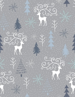 Seamless christmas pattern with silhouette reindeer