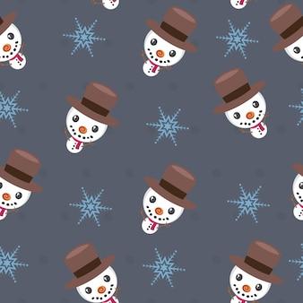Бесшовный новогодний фон со снеговиком и снежинкой