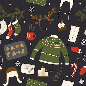 Рождественский фон с носками, подарки, оленьи рога, свечи, свитер, украшения для одежды