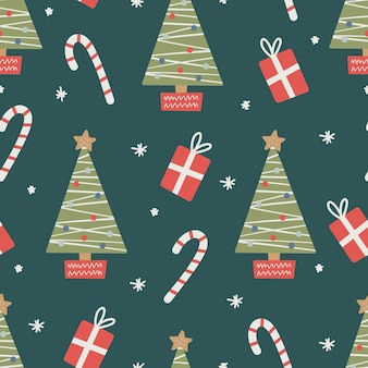 Seamless christmas pattern with tree, candy and gifts.christmas ornament with red and green color, vector illustration