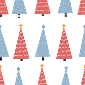 빨간색과 파란색 디지털 종이와 나무 크리스마스 장식으로 완벽 한 크리스마스 패턴