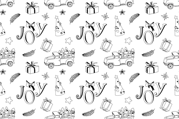 Seamless christmas pattern with truck trees and holiday elements