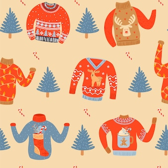 Seamless christmas pattern with ugly sweaters.