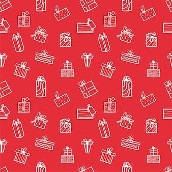 赤い背景に白いギフトアイコンとシームレスなクリスマスパターン。冬の模様は包装紙に使用できます。ベクトルイラスト。
