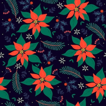 Seamless christmas pattern with winter flora.