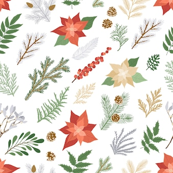 Seamless christmas pattern with winter plants