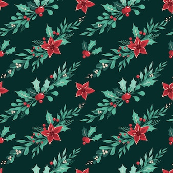 Seamless christmas pattern with with garlands of winter plants, leaves, berries and flowers arranged diagonally on a dark green background.