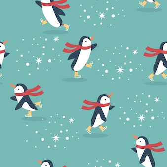 Seamless christmas pattern withpenguins  skating and snowflakes on blur background.