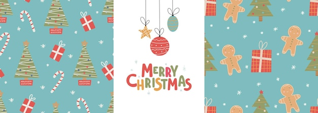 Seamless christmas patterns and lettering-merry christmas vector illustration