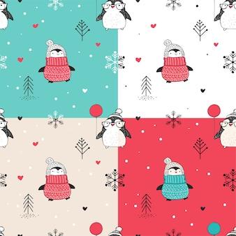 귀여운 손으로 그린 펭귄으로 설정하는 완벽 한 크리스마스 패턴